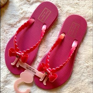 Kate Spade Pink Bow Flip Flops NWT Size 7 Sandals